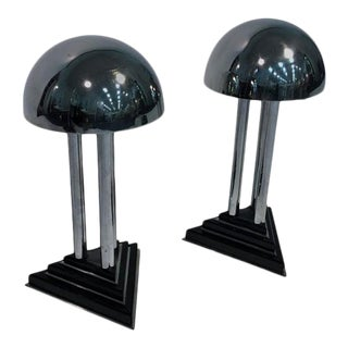 Art Deco Modernist Pair of Chrome and Bakelite Lamps Attributed to Donald Deskey For Sale