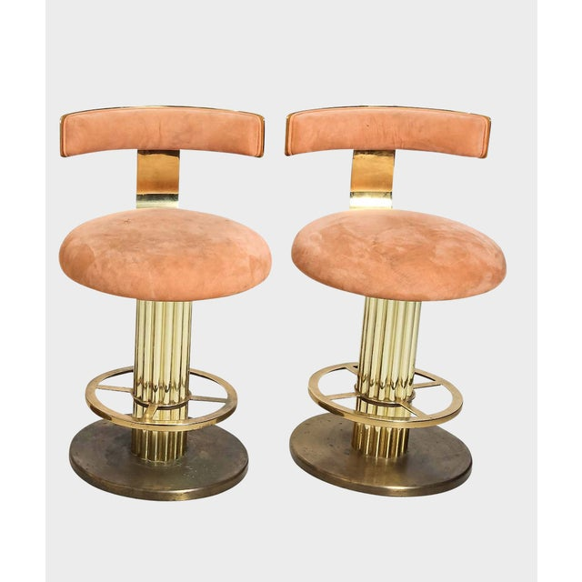 Design for Leisure Art Deco Revival Brass Counter Stools - a Pair For Sale - Image 12 of 12