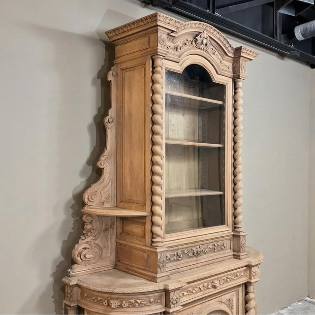 19th Century Renaissance Stripped Oak Hunt Bookcase represents the essence of the genre! Hand-sculpted from dense, old-...