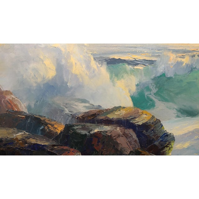 Bennett Bradbury California Seascape Oil Painting on Canvas For Sale - Image 5 of 10