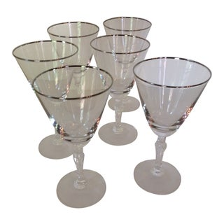 Vintage Platinum Rim Fostoria Wine Glasses - Set of 6 For Sale