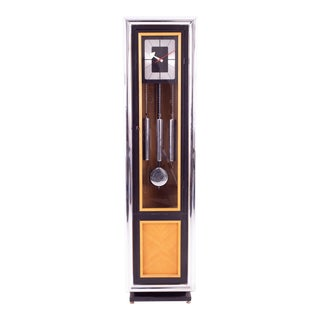 George Nelson for Howard Miller Mid Century Black and Chrome Grandfather Clock For Sale