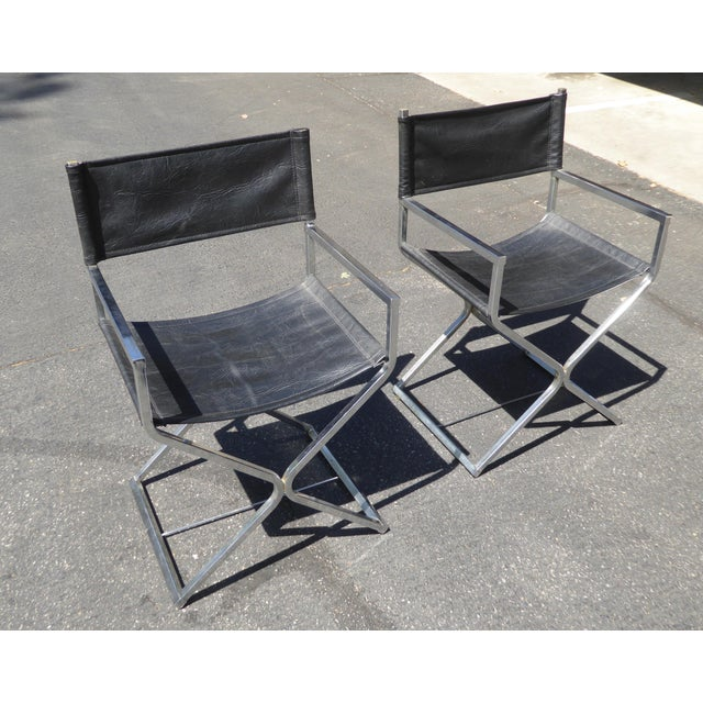 Vintage Contemporary Black Chrome Accent Chairs - A Pair For Sale - Image 4 of 11