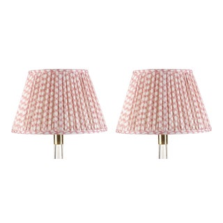 Fermoie Gathered Linen Lampshade in Pink Wicker, 6 Inch, Set of 2 For Sale