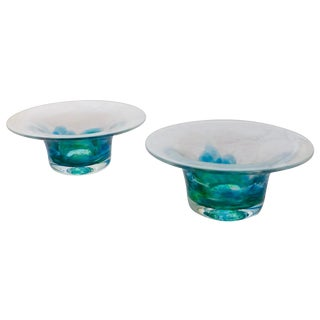 Blue & Green Jerpoint Glass Bowls - A Pair
