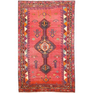Berry Geo Vintage Persian Rug - 4′6″ × 6′3″ For Sale