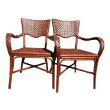 Image of Bamboo Wicker Chairs - A Pair For Sale
