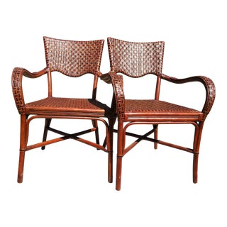 Bamboo Wicker Chairs - A Pair For Sale