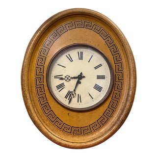 Vintage Ocher Yellow Metal Wall Clock For Sale