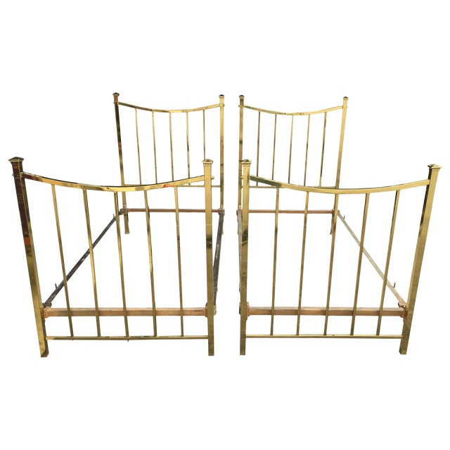 Art Deco Brass Twin Bed French Single, Circa 1930 For Sale