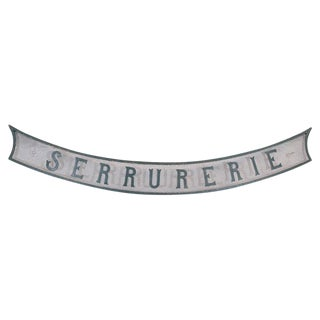 "Antique French ""Serrurerie"" Locksmith Swag Sign For Sale"