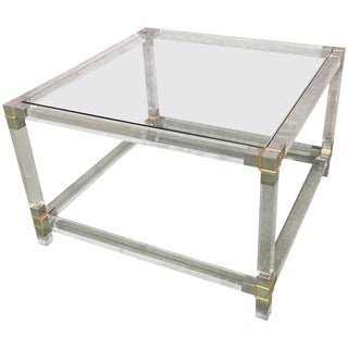 Midcentury Square Lucite Coffee Table With Chromed Metal Details For Sale