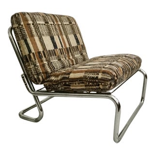 1970's Vintage Low Chrome Slipper Chair For Sale