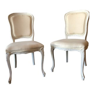 Italian Painted and Upholstered Vanity Chairs - A Pair For Sale