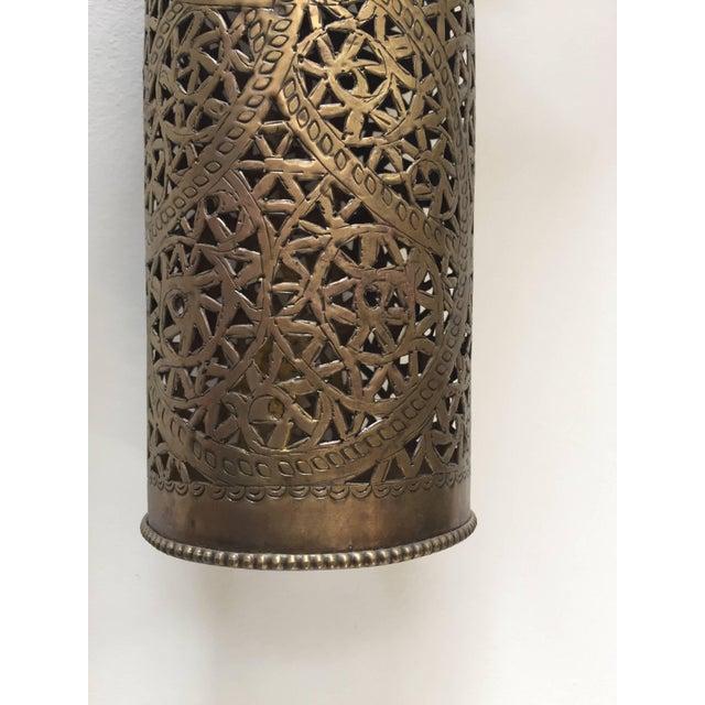 Mid 20th Century Pair of Moroccan Brass Pendants Lights with Moorish Filigree Designs For Sale - Image 5 of 13