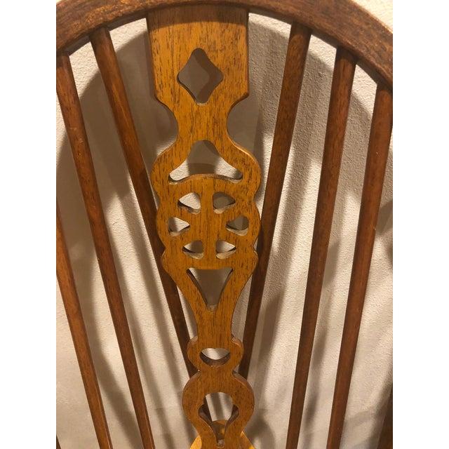 Brown Vintage Oak Wheel Back Windsor Dining Chairs - Set of 8 For Sale - Image 8 of 13