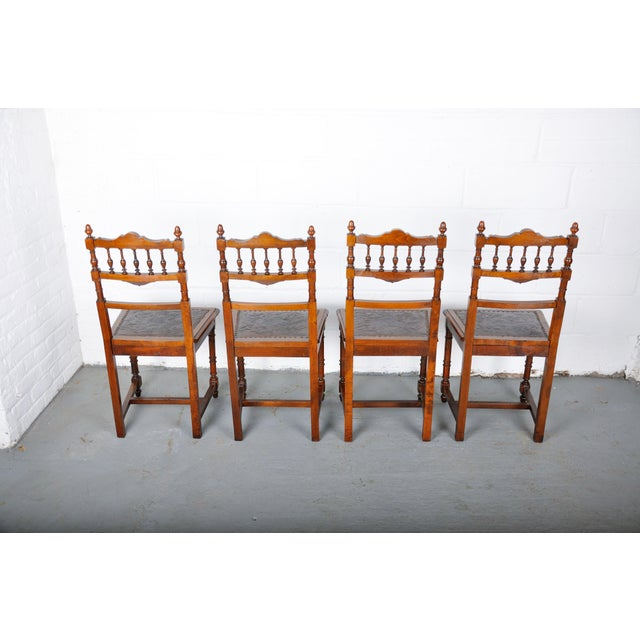 Antique Set of 4 French Henri II Oak Dining Chairs For Sale - Image 12 of 13