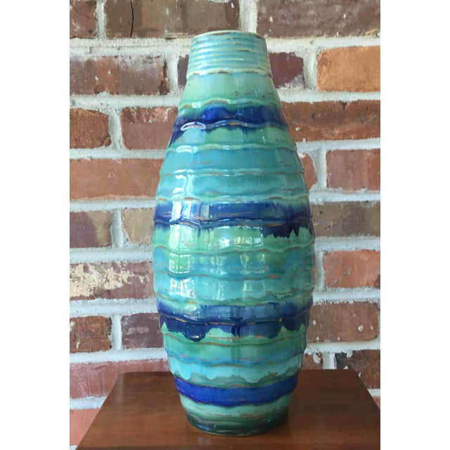 Late 20th Century Contemporary Large Drip and Crackle Glazed Ribbed Vase For Sale - Image 11 of 11