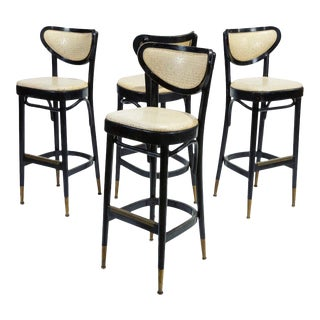 Mid-Century Bentwood Bar Stools in Ebony - Set of 4 For Sale