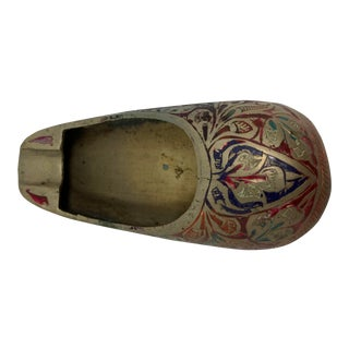 1960s Indian Painted Brass Shoe Ashtray For Sale
