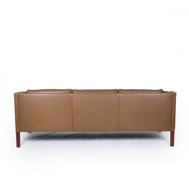 Borge Mogensen Model #2213 Three-Seat Leather Sofa For Sale In Los Angeles - Image 6 of 10