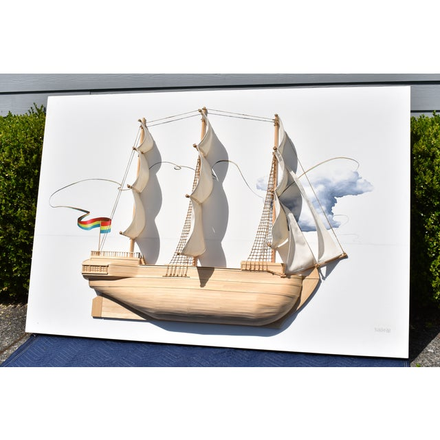 'Sail Boat No. 2' by Weston Jandacka (2010). Extra Large mixed media and sculpture-based piece depicting a floating sail...