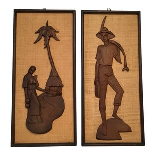 Mid-Century Asian Wood Panels - a Pair For Sale