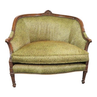 Louis XVI Faux Leopard Print Walnut Loveseat For Sale
