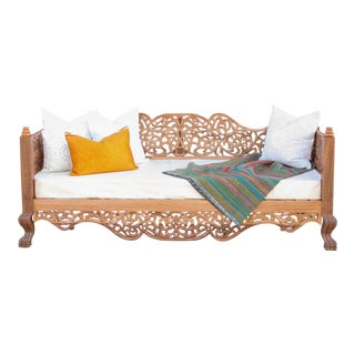 Gorgeous Anglo Indian Carved Daybed For Sale
