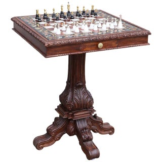 20th Century Anglo-Indian Semi-Precious Stone Inlaid Marble Chess Table With Silver Chessmen For Sale