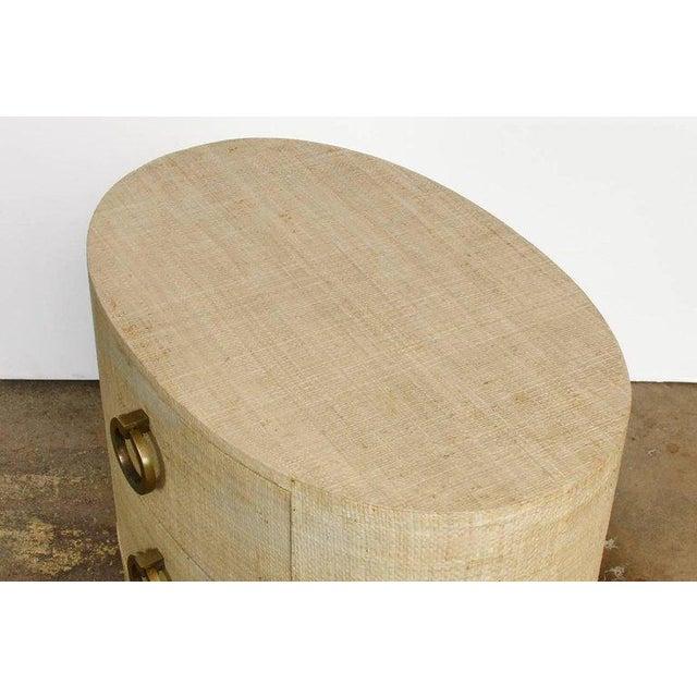 Raffia Grasscloth Clad Oval Three-Drawer Dresser Nightstand - Image 10 of 11
