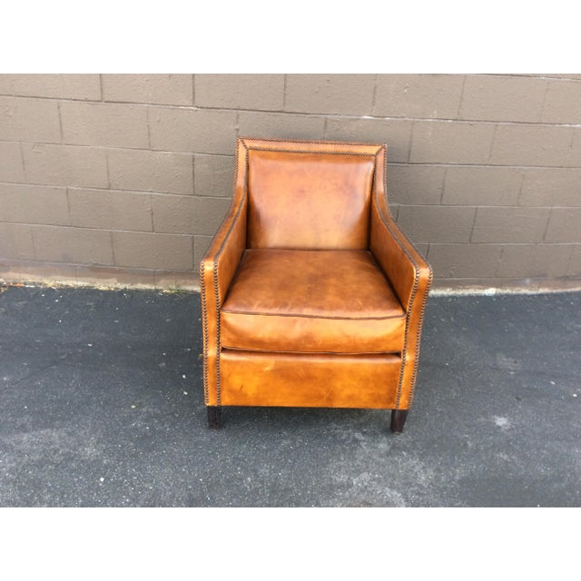Brown Leather Club Chair For Sale - Image 12 of 12