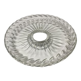 Large Late 20th Century Lead Crystal Pedestal Platter For Sale