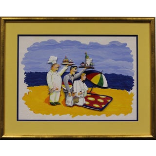 """Red Grooms, Servers on a Beach"" For Sale"