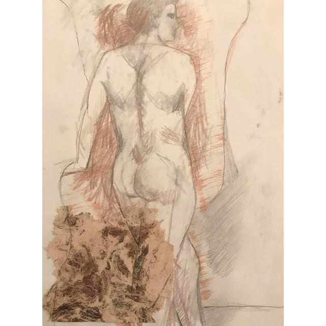 Mixed Media Collage and Drawing Male Nude, James Bone 1990s For Sale