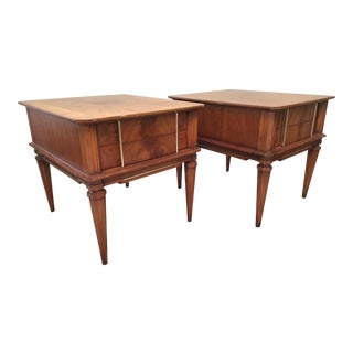 Mid Century Modern Burl Wood and Brass Trimmed Nightstands - A Pair