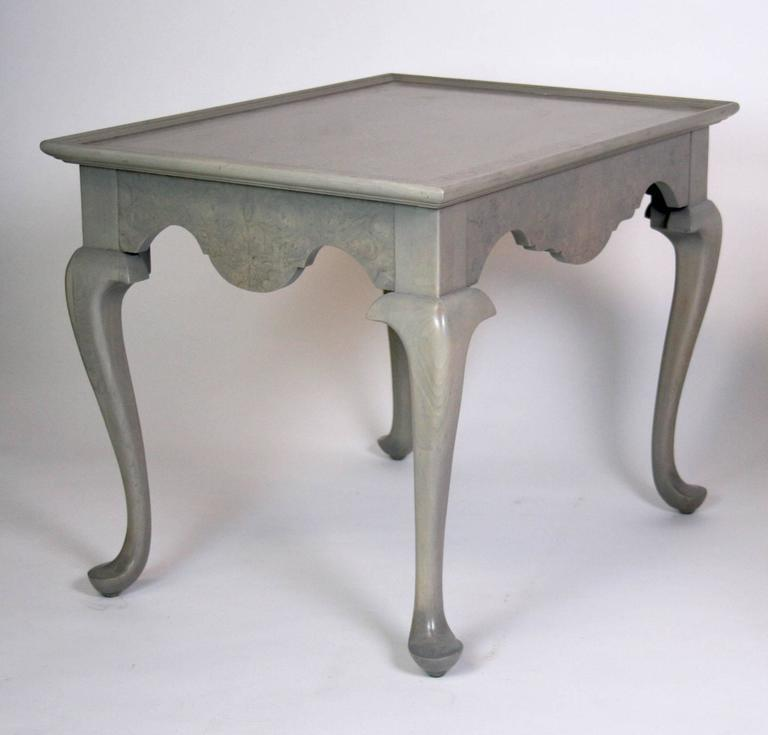Exquisite Grey Stained Queen Anne Style Side Tables A Pair Decaso