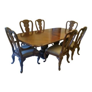 Bernhardt Antique Handcrafted Hardwood Dining Room Table and Chairs For Sale