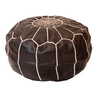 Leather Cylinder Moroccan Ottoman Pouf Cover For Sale