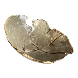 Contemporary Studio Ceramic Bowl With Gold Leaf For Sale