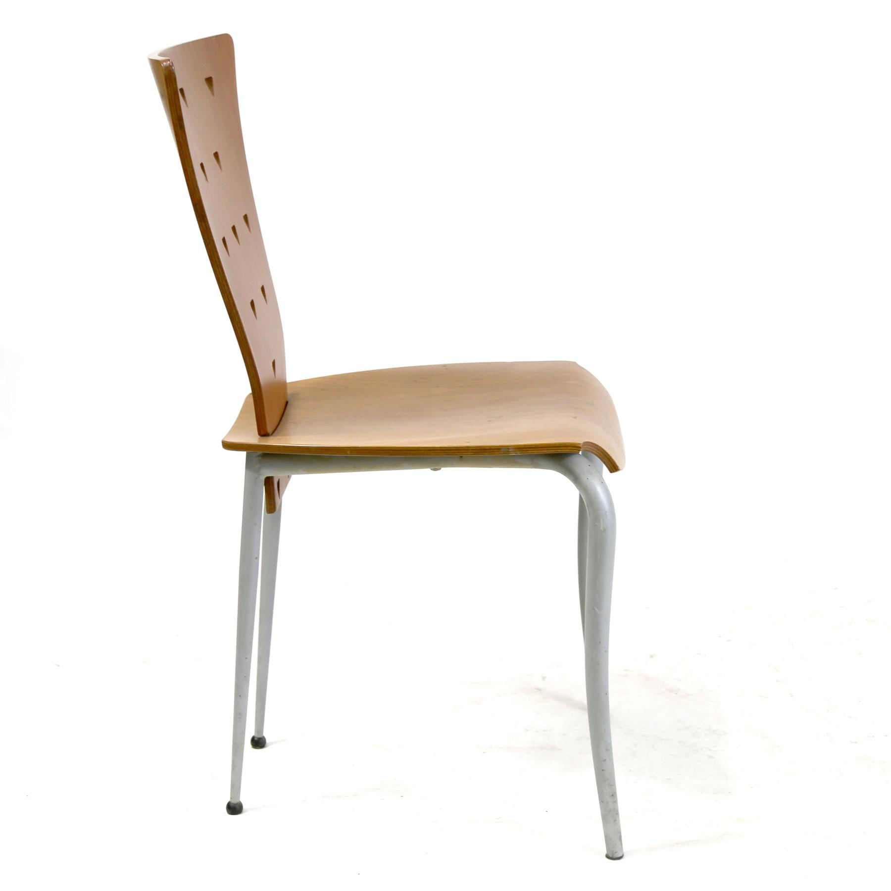 1990s Italian Post Modern Memphis Style Side Chair With Molded Plywood Back  U0026 Seat Triangle Motif