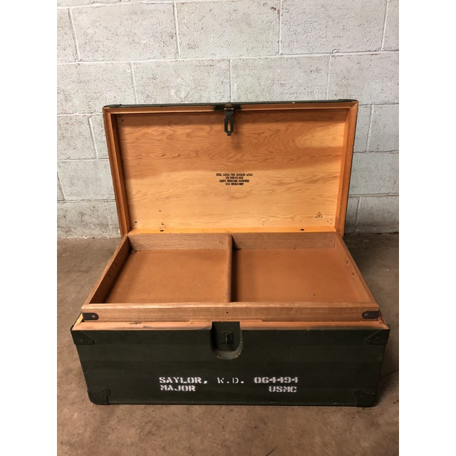 Vintage Industrial Green Wood Military Foot Locker Trunk W Tray For Sale - Image 10 of 12