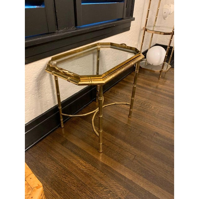 Vintage Hollywood Regency Brass Bamboo Tray Table For Sale - Image 11 of 11