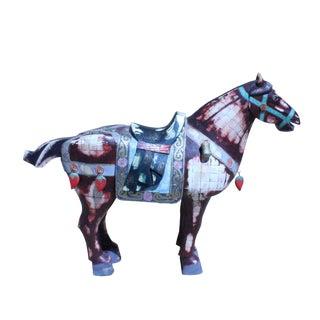 Chinese Vintage Oriental Bone Tiles War-Field Art Decor Horse Figure For Sale