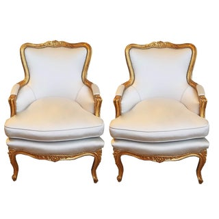 1960s Louis XV Gilt Wood and Fortuny Silver Silk Blend Upholstered Bergere Chairs - a Pair For Sale