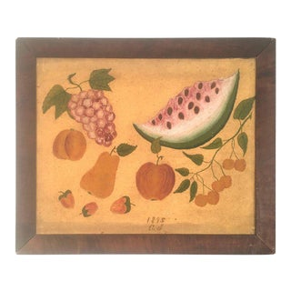 American Folk Art Fruit Still Life Painting, Circa 1895 For Sale