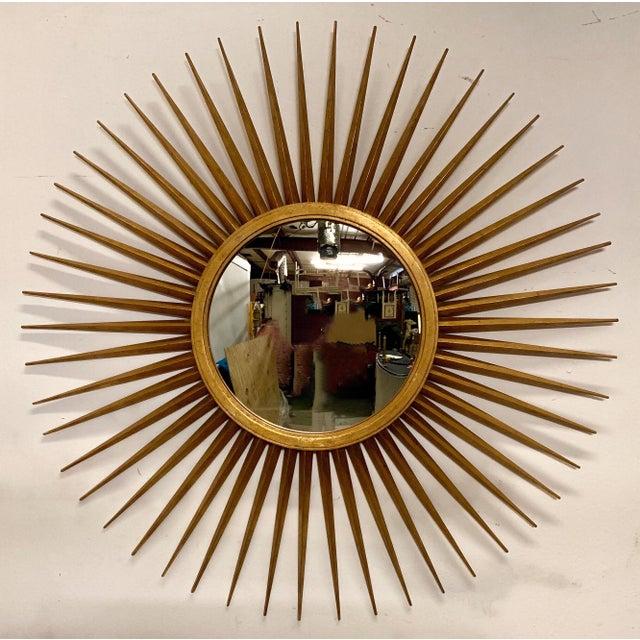 Wood Large Hollywood Regency Parrish-Hadley Sunburst Mirror by Baker Furniture For Sale - Image 7 of 7