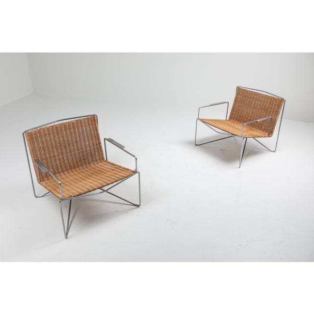 Modern easy chairs in steel and wicker by Gelderland, 1964 Designed by Design Team Gelderland, The Netherlands Very...