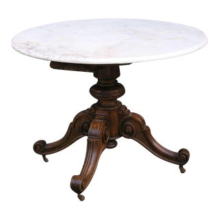 French Oak Marble Top Table, 3rd Q 19th Century For Sale