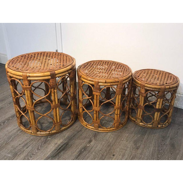 Bamboo Set of Three Graduating/ Nesting Bamboo, Rattan and Reed Nesting Side Tables For Sale - Image 7 of 13